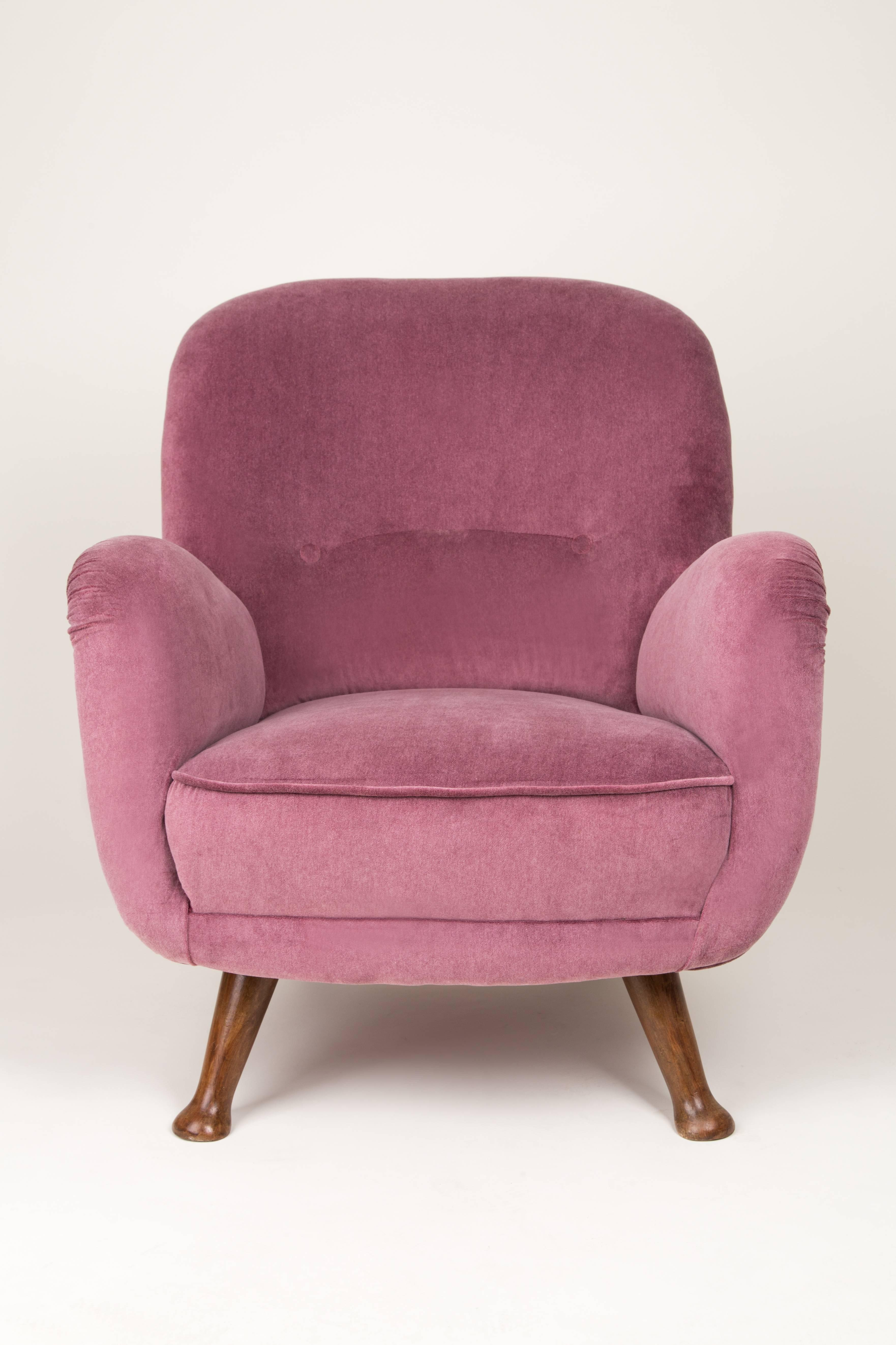 Mid-Century Modern Vintage Burgundy Big Armchair, 1960s For Sale