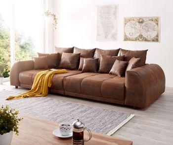 Big-Sofa Violetta 310x135 cm Braun Antik Optik mit Kissen Bild 1