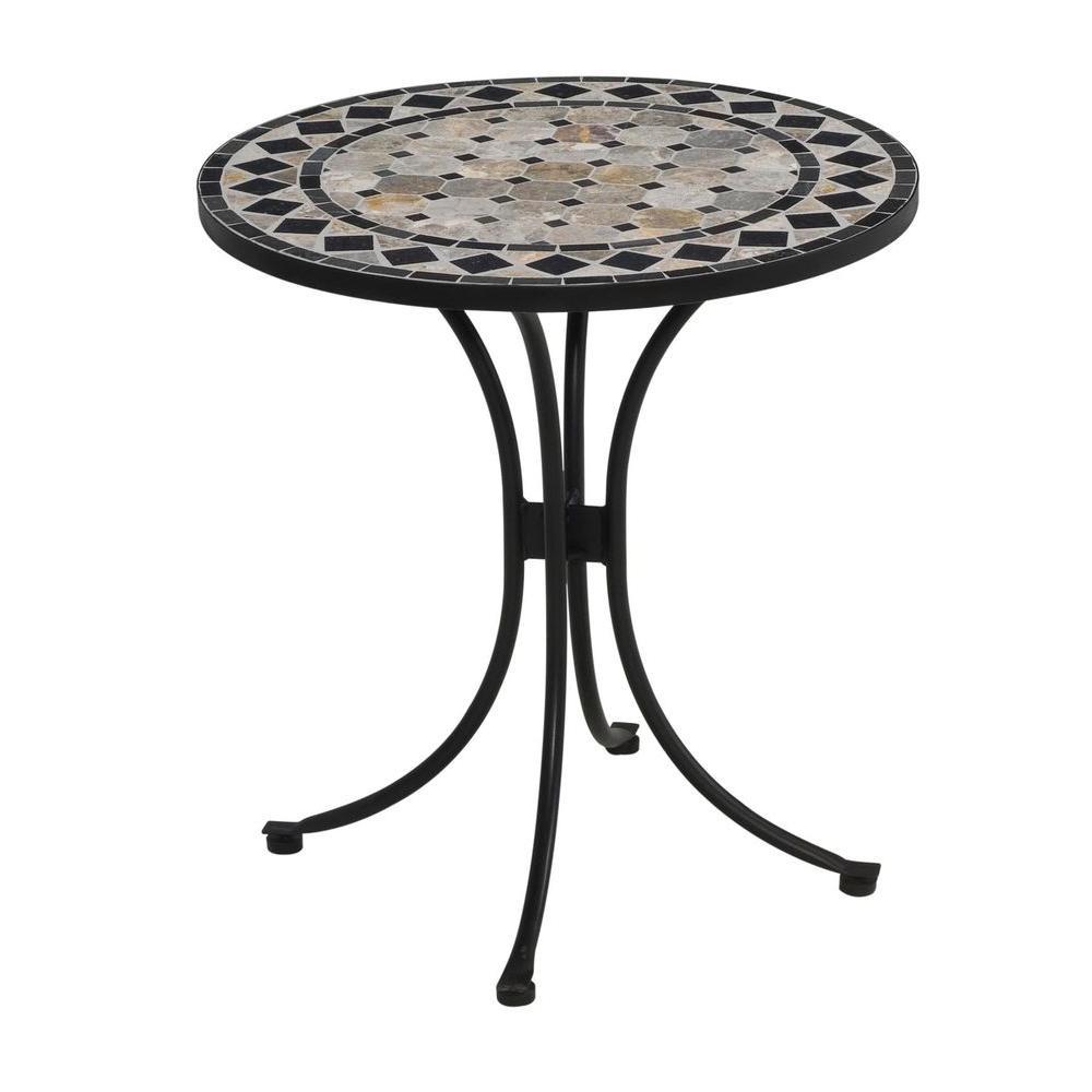 Black and Tan Round Tile Top Patio Bistro Table