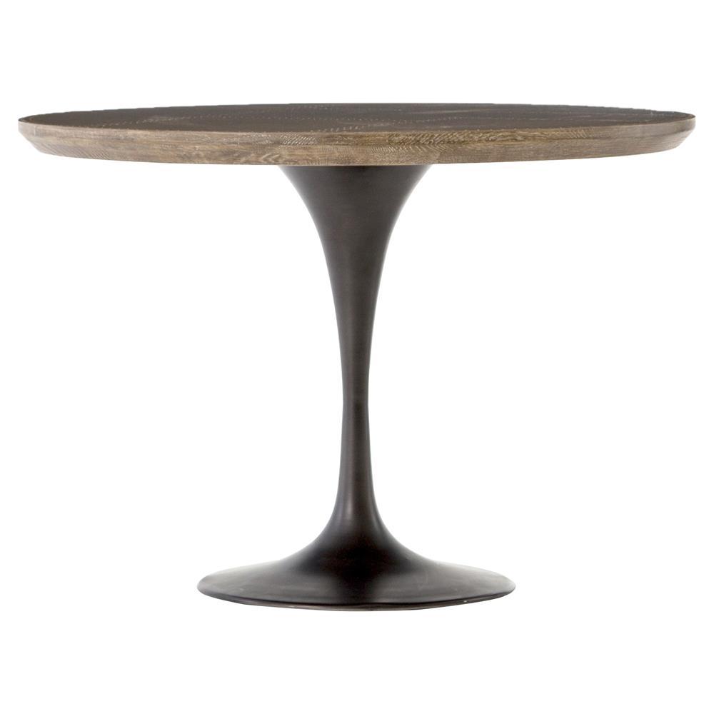 Modine Industrial Loft Brass Black Iron Tulip Round Bistro Table   Kathy  Kuo Home