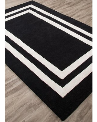 Gramercy Double Border Hand-Tufted Black/White Area Rug Rug Size: Rectangle  5