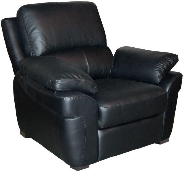 Monzano Leather Fixed Armchair Black