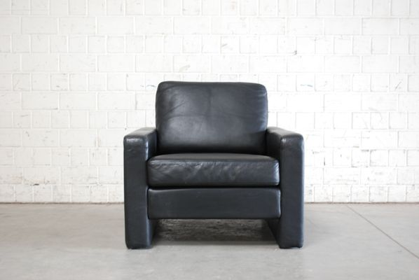 Vintage Conseta Black Leather Armchairs from Cor, Set of 2 1