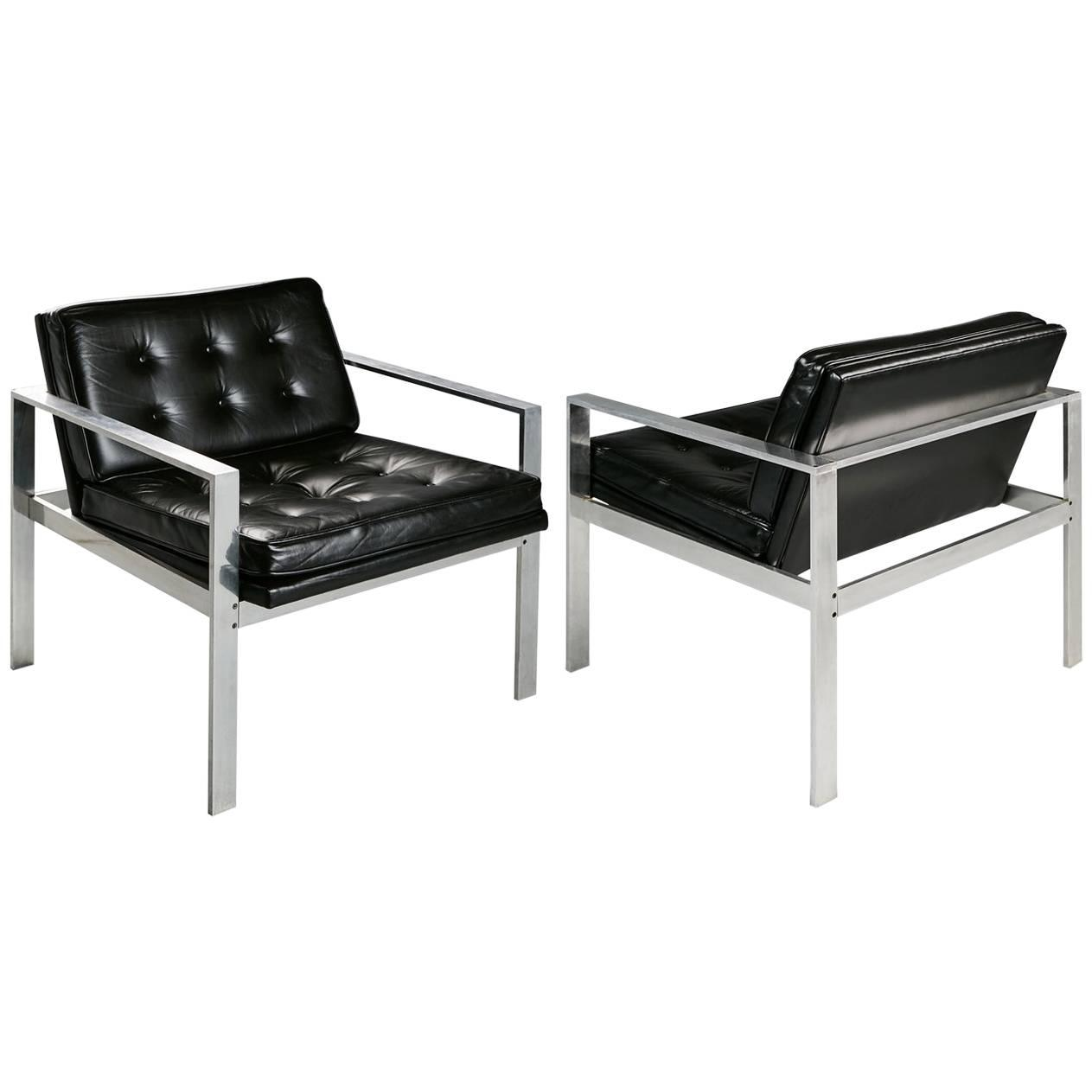 Harvey Probber Aluminum and Black Tufted Leather Armchairs, 1960s For Sale