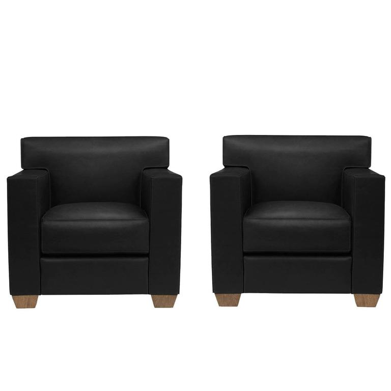 Jean-Michel Frank & Hermès, a Pair of Black Leather Armchairs, 21st Century