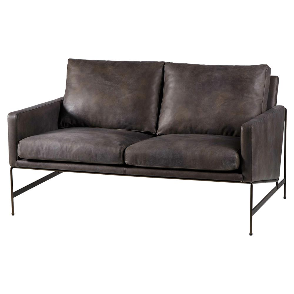 Thomas Bina Vanessa Industrial Distressed Black Leather Loveseat | Kathy  Kuo Home