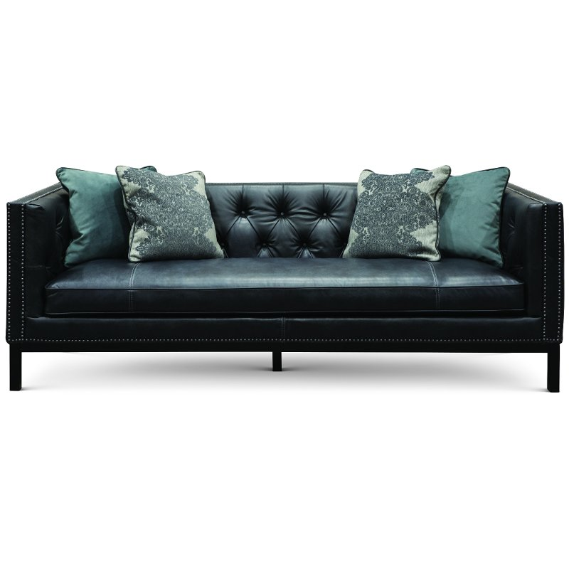 Mid-Century Modern Slate Black Leather Sofa - St. James | RC Willey  Furniture Store