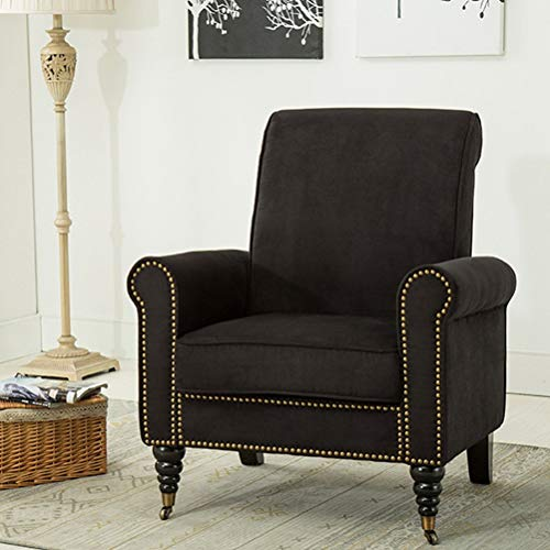 Traveller Location: Classic Living Room Chairs Nailhead Trim Club Chairs Fabric  Accent Chairs (Black): Kitchen & Dining