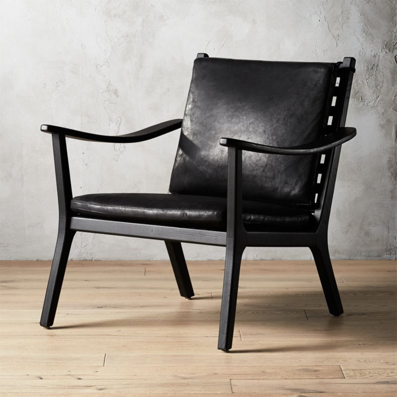 Parlay Black Leather Lounge Chair