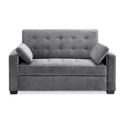 Augustus Microfiber Convertible Sofa, Queen Size Bed in Grey