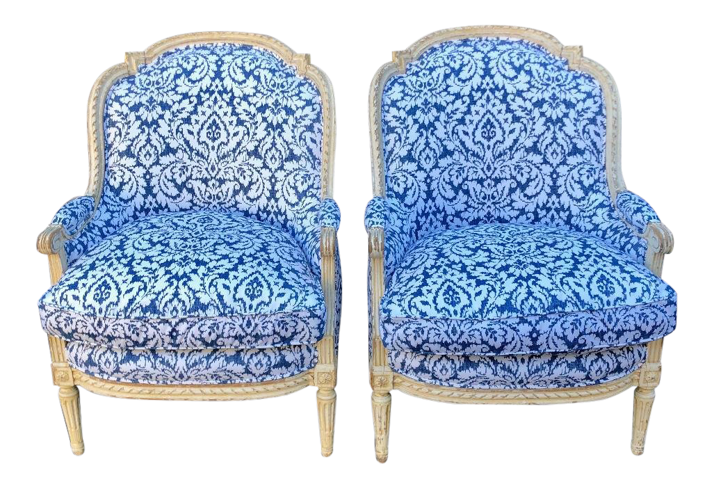 Pair of Antique French Louis XV Style Bergere Chairs W Blue & White Damask