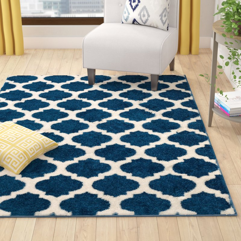 Wrought Studio Rubino Polypropylene Denim Blue Area Rug & Reviews | Wayfair