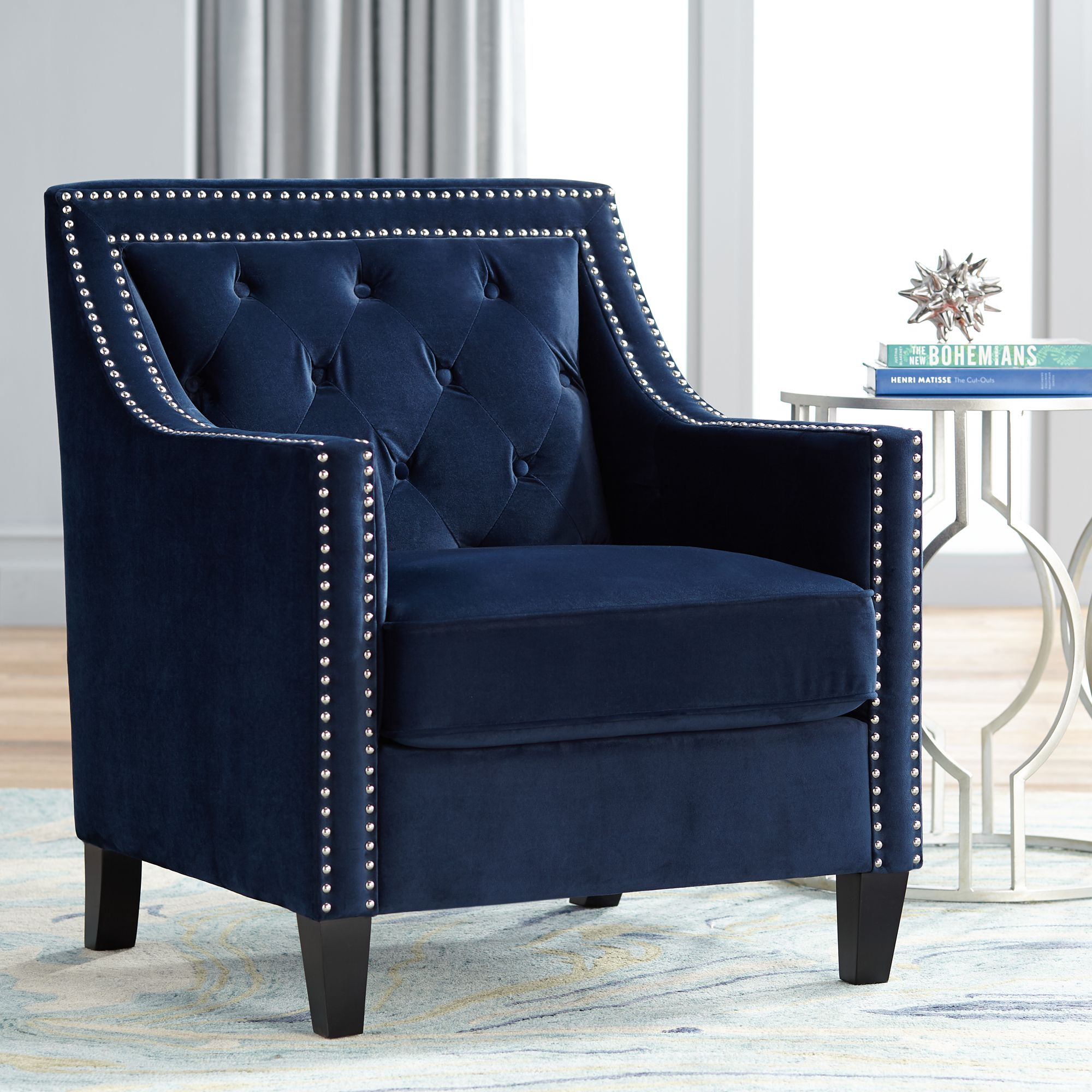 Tiffany Navy Blue Tufted Armchair