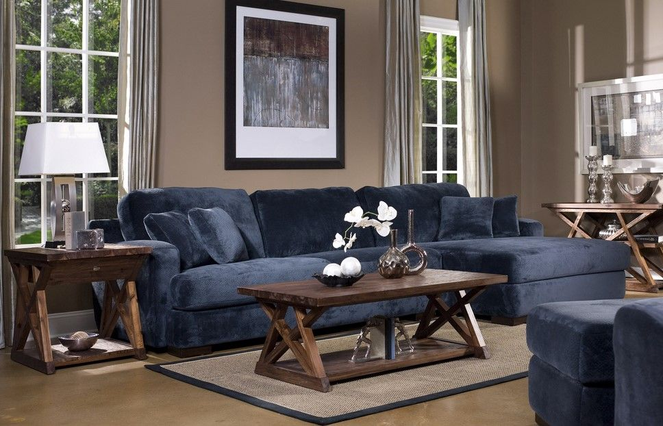 Elegant Living Room Style Using Exciting Navy Blue Sectional Sofa :  Outstanding Navy Blue Sectional Sofa White Windows Frames Wooden Coffee  Table Gray