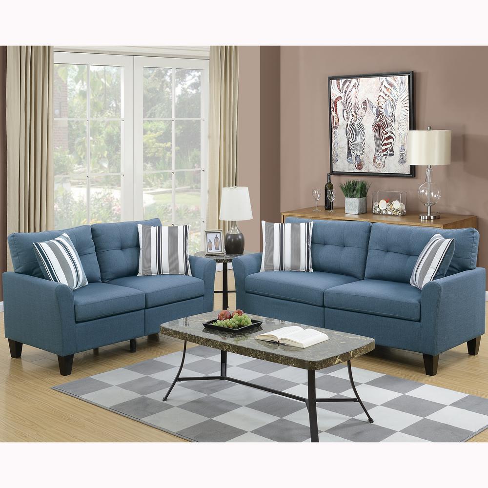Venetian Worldwide Sardinia 2-Piece Blue Sofa Set-VENE-F6535 - The Home  Depot