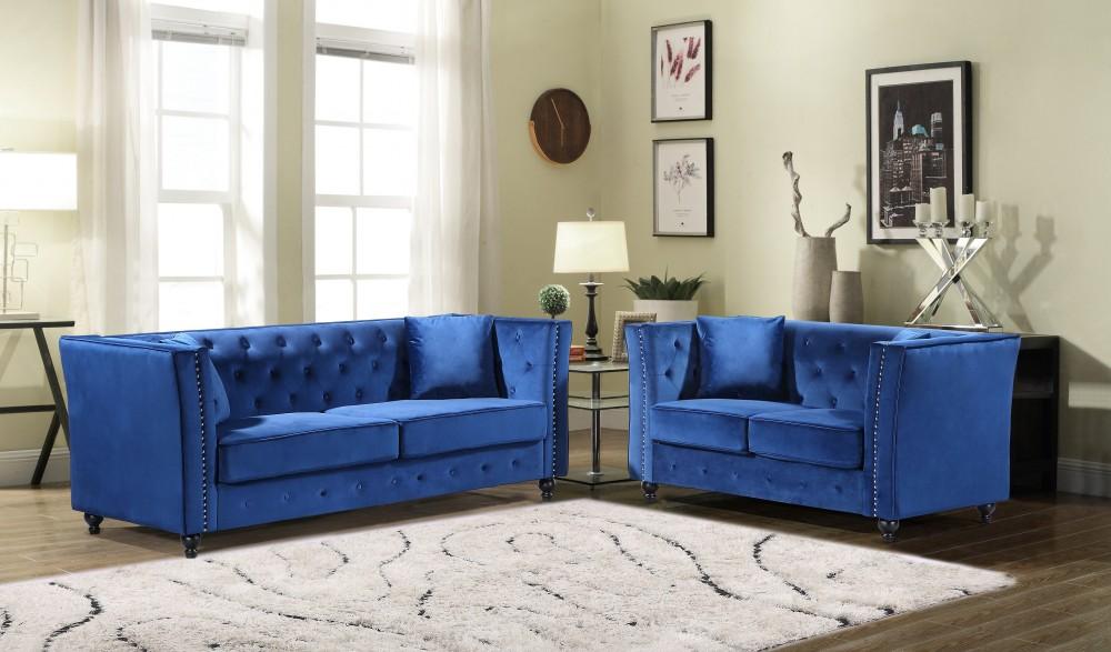 JoJo Blue Sofa & Love Group | U136 - Blue | Living Room Sets | Price  Busters Furniture