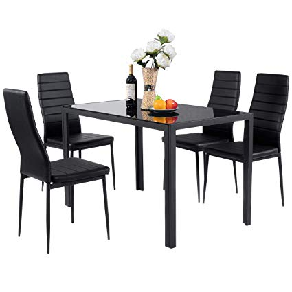Giantex 5 Piece Kitchen Dining Table Set with Glass Table Top Leather  Padded 4 Chairs and