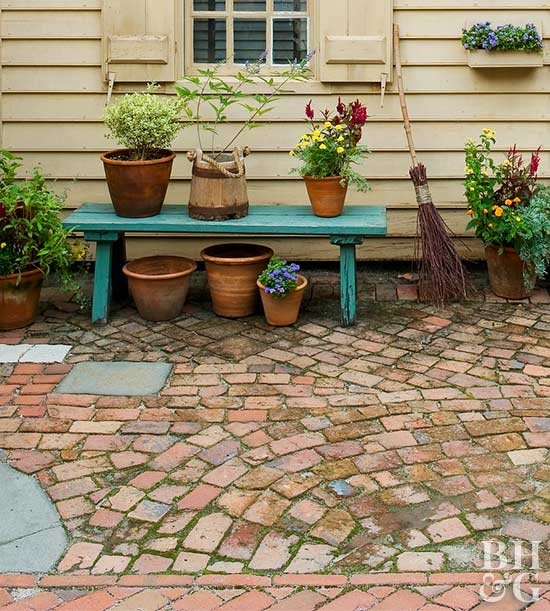 diy broken brick patio