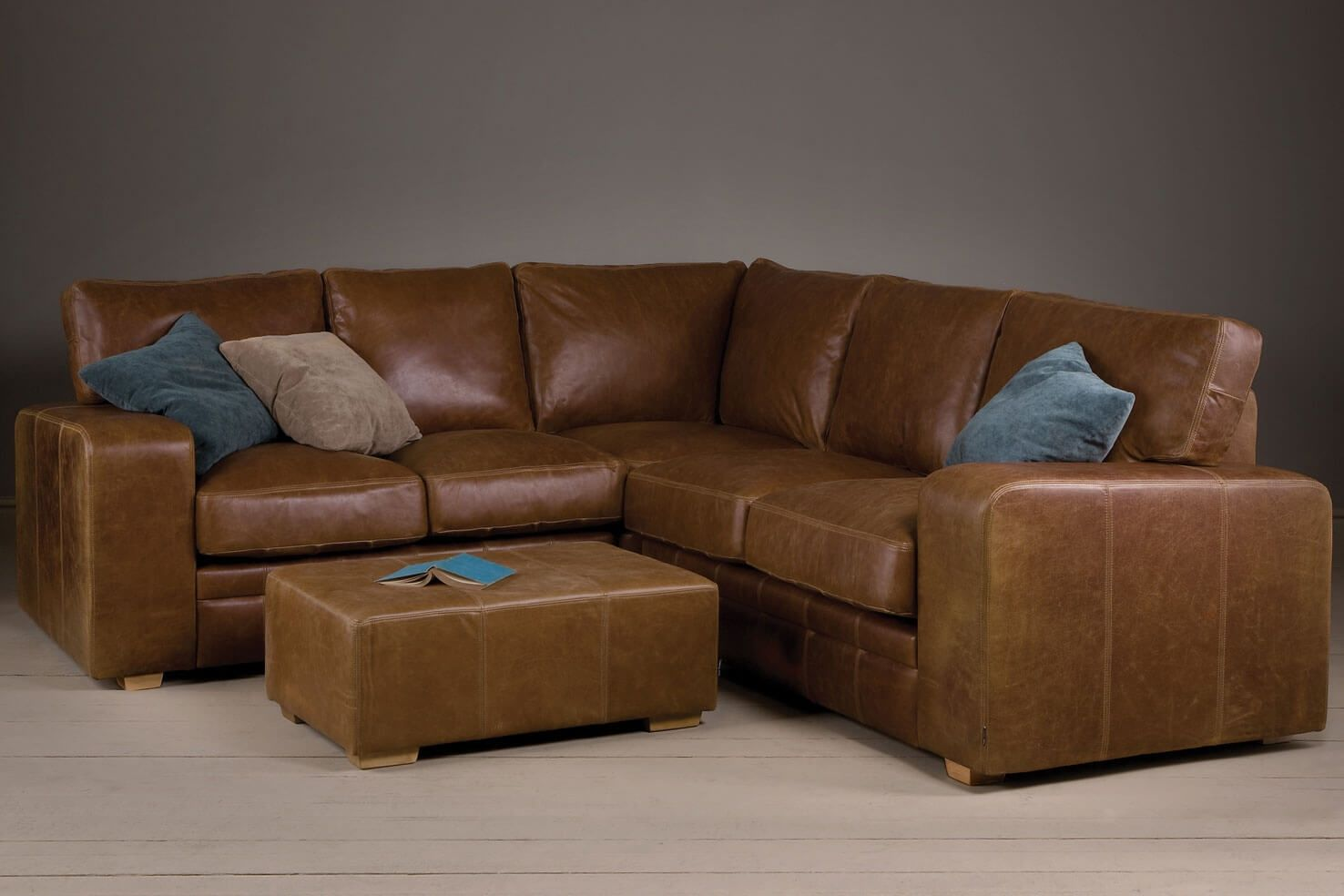 The Broad Arm Leather Corner Sofa by Indigo Furniture