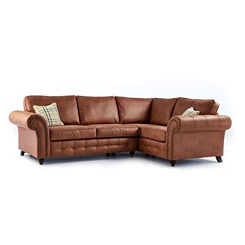 Oakridge Large Leather Corner Sofa - Tan (Right Hand Facing)