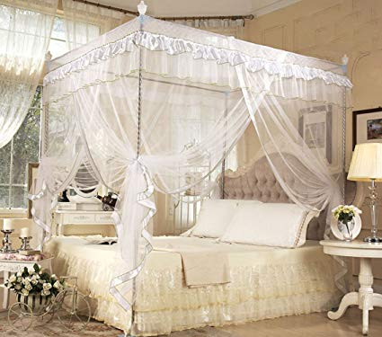 Nattey 4 Poster Corners Princess Bed Curtain Canopy Mosquito Netting  Canopies (Queen, White)