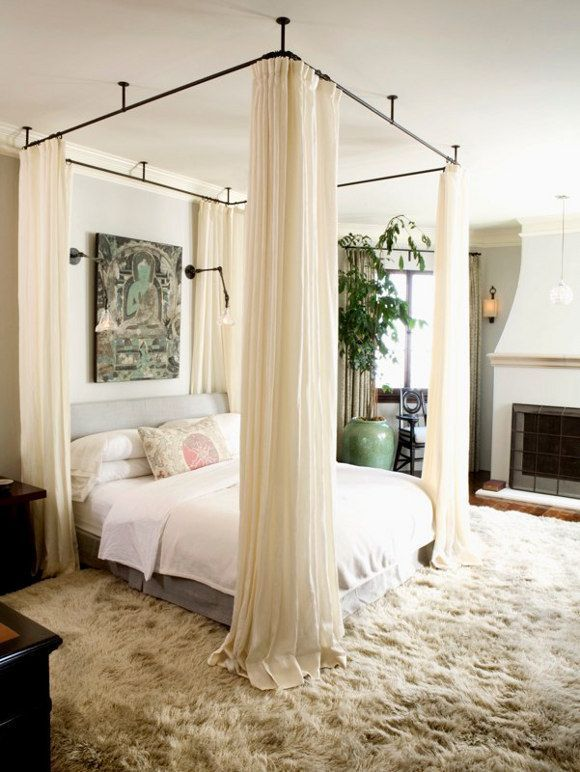 Canopy Bed With Curtains, Hanging Bed Canopy, Canopy Bedroom, Bed Canopies,  Curtains