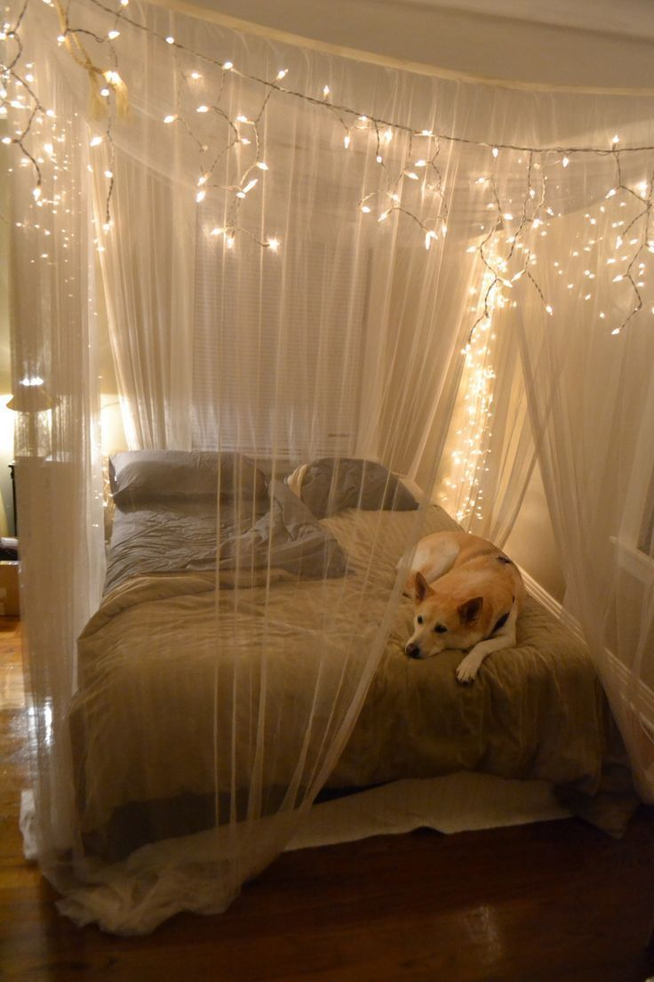 Decoration, Rustic Queen Bedroom Design With Hanging White String Lights  And Canopy Bed Curtains From Ceiling Over Bed Ideas ~ Hanging Lights in  Bedroom