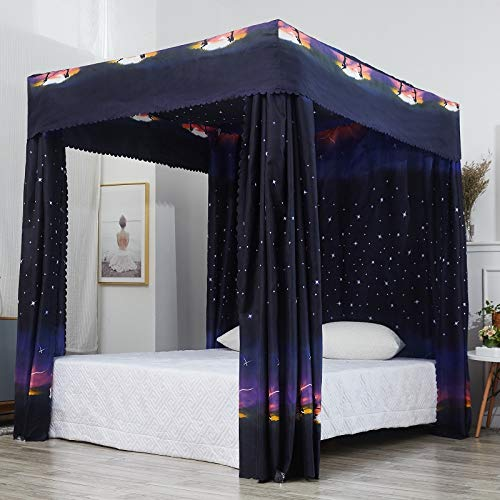 Traveller Location: Mengersi Galaxy Star Four Corner Post Bed Curtain Canopy  Mosquito Net for Boys Kids (Full, Black): Home & Kitchen