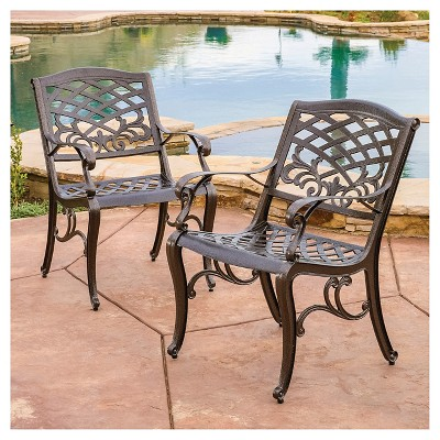 Sarasota Set Of 2 Cast Aluminum Patio Chair - Hammered Bronze - Christopher  Knight Home : Target