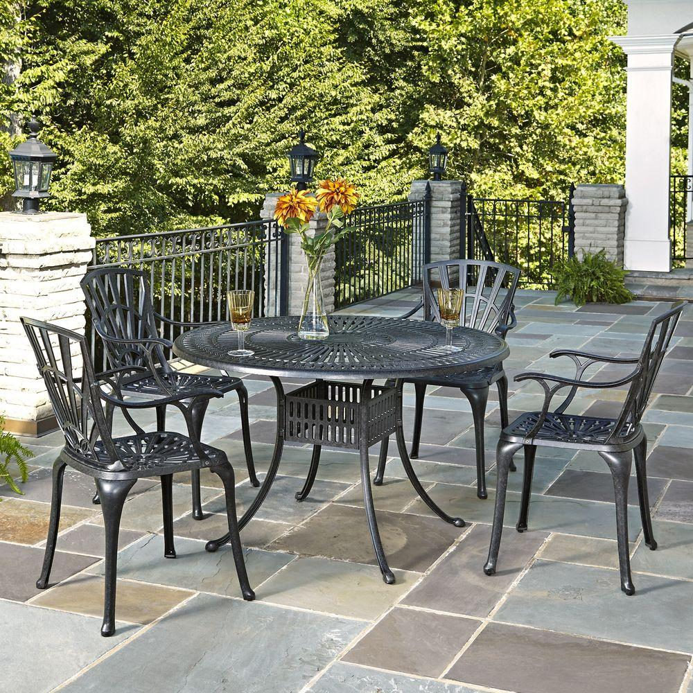 Cast Aluminum Charcoal Outdoor 5-Piece Patio Dining Set