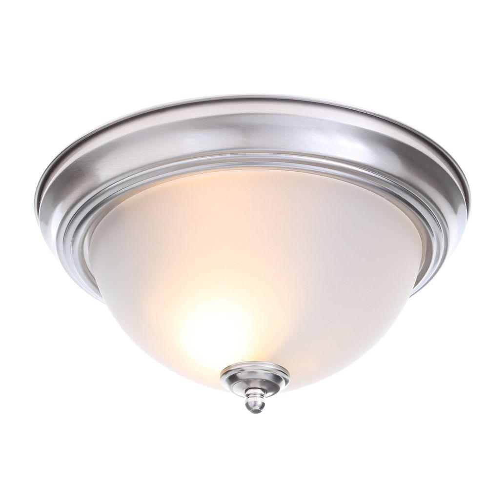 2-Light Brushed Nickel Flush Mount with Frosted Glass Shade (2-Pack)
