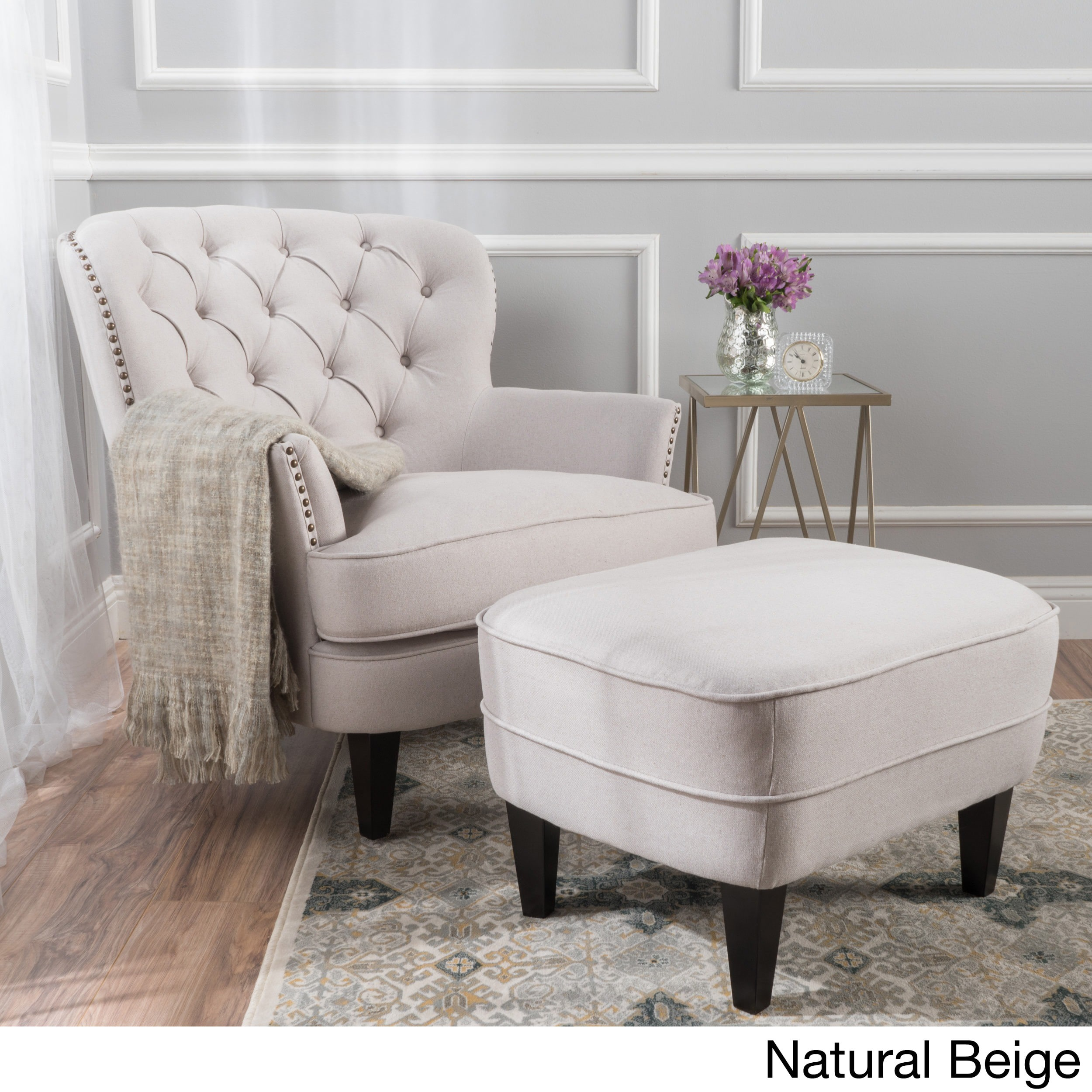 Shop Tafton Tufted Fabric Club Chair with Ottoman by Christopher Knight  Home - Free Shipping Today - Overstock - 13288524