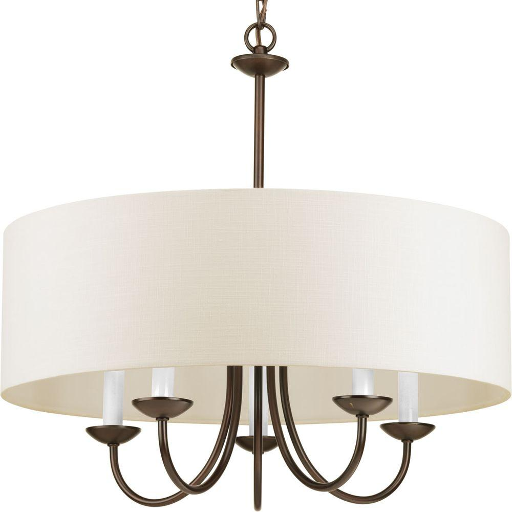 Progress Lighting 21.625 in. 5-Light Antique Bronze Chandelier with Beige  Linen Shade