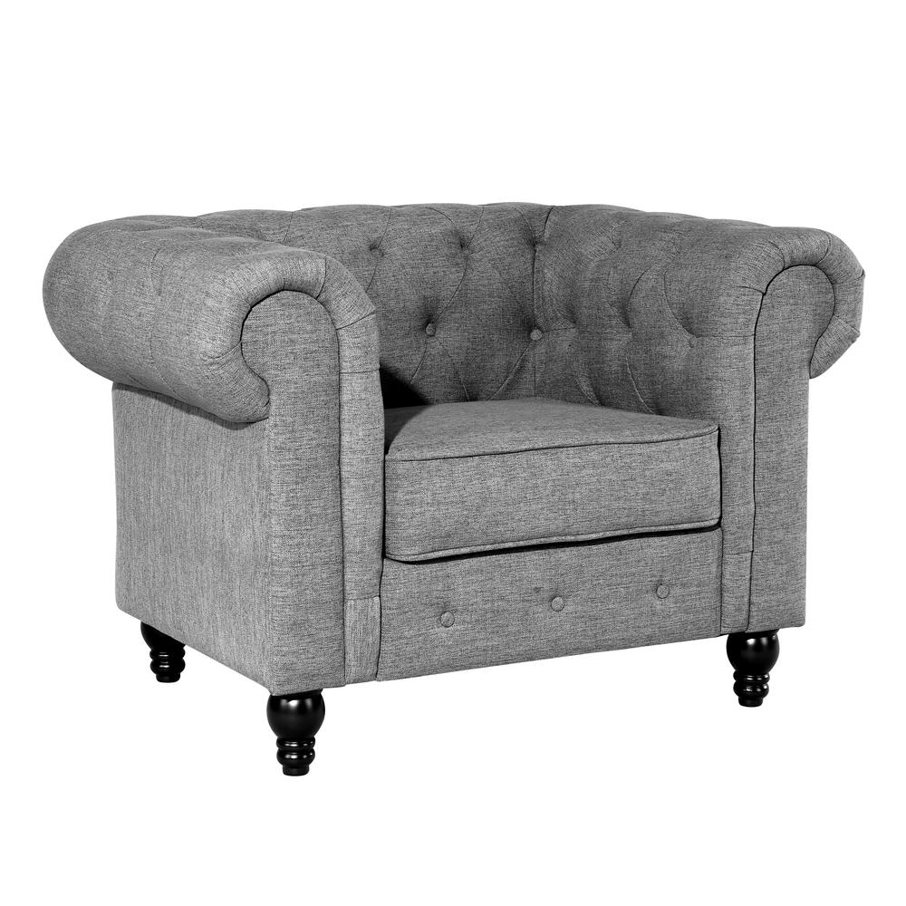 Poly and Bark Hendrick Gray Chesterfield Armchair