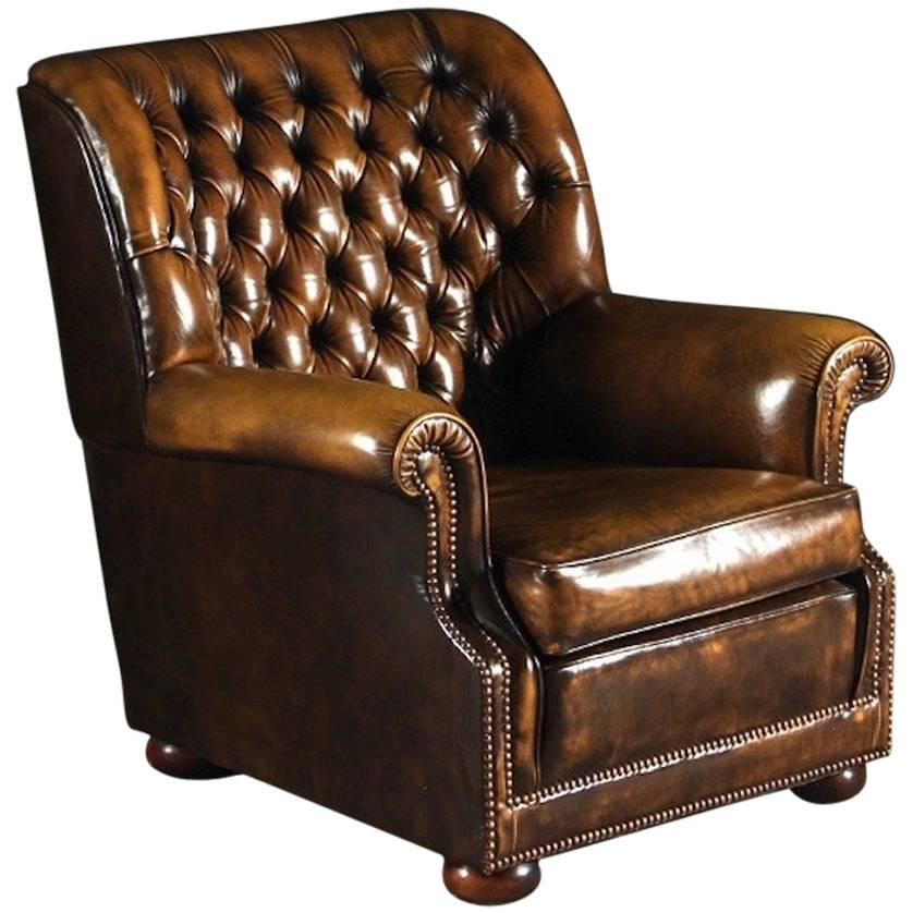 Brown Leather Pegasus Chesterfield Armchair by Art Forma Upholstery Ltd For  Sale