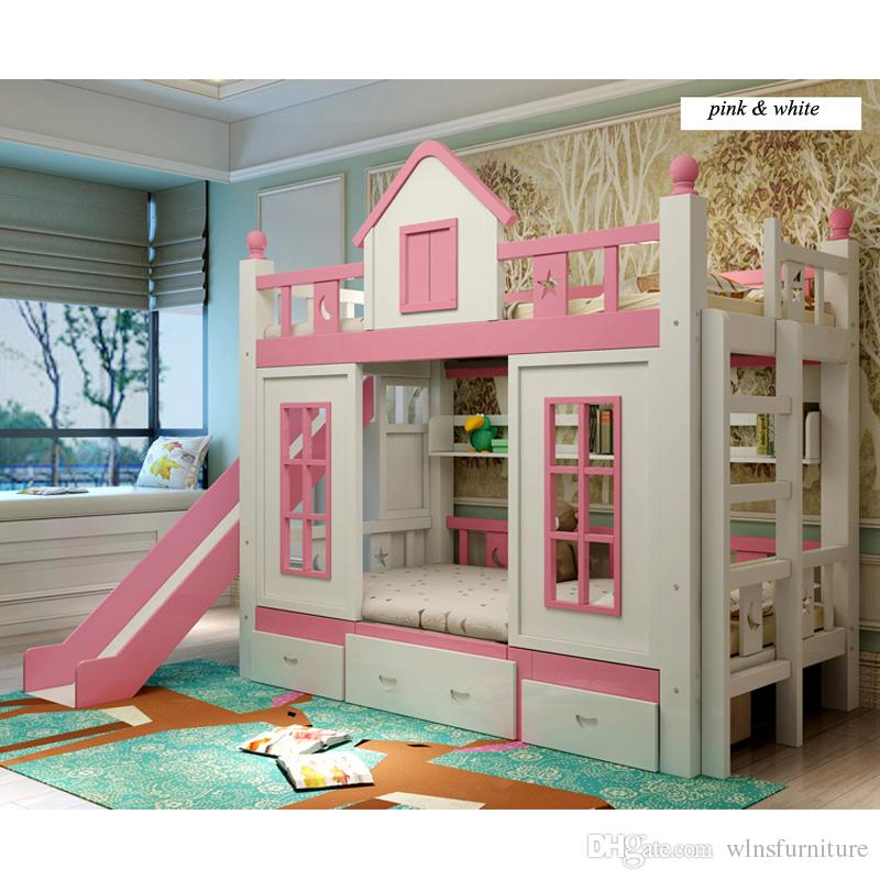 2019 0128TB006 Modern Children Bedroom Furniture Princess Castle With Slide  Storages Cabinet Stairs Double Children Bed From Wlnsfurniture,