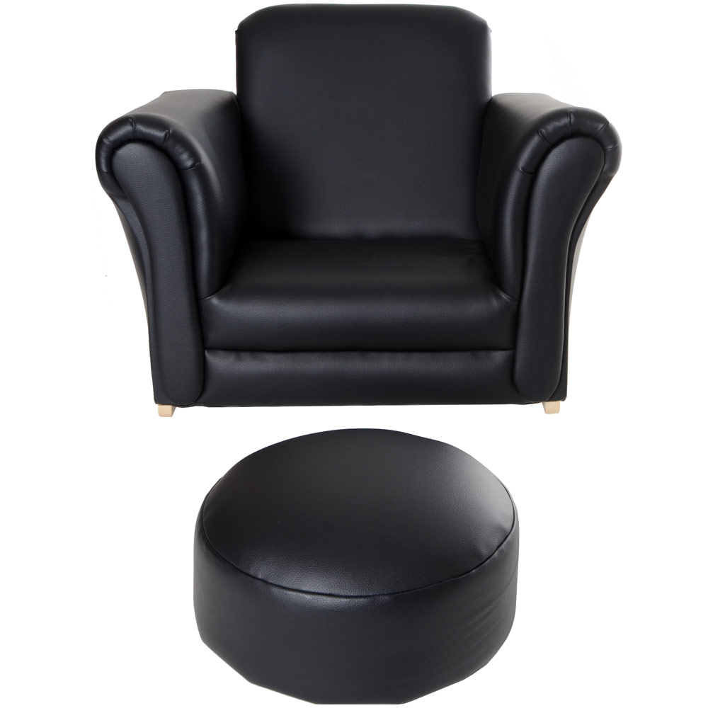 Childrens Leather Chair And Footstool Total Kids Toddler Black Armchair  Look Rocker Stool Computer Desk Gaming Laura Ashley Bramley Dining Chairs  Next Alfie