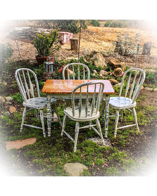 Vintage, Kids Table Chair Set, white, shabby chic, childrens table and  chairs
