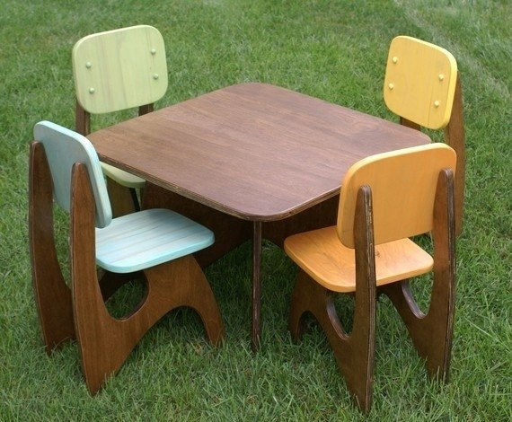 Modern child table set 4 chair option