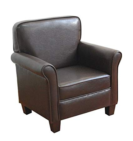 Traveller Location: HomePop K3334-E155 Youth Leatherette Club Chair Dark Brown:  Kitchen & Dining
