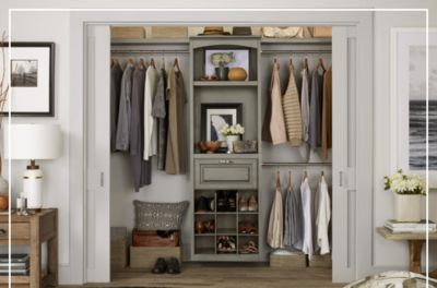 Wood closet kits are modular and can be built to suit your storage needs.