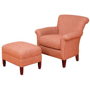 Francis Rolled Back Accent Chair and Ottoman Set