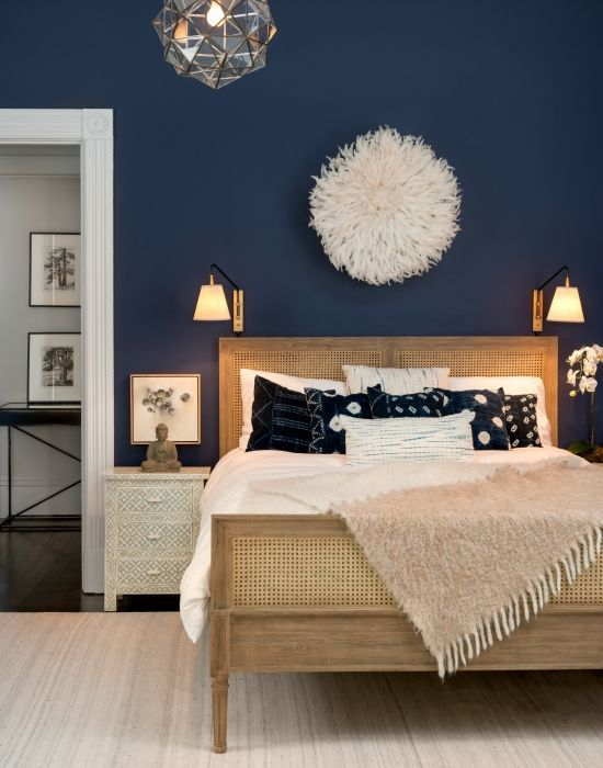 Accent wall and bedroom decor. From rich navy to soft gray, these are the  colors /theexchange/ says will be trending in home design during 2017.