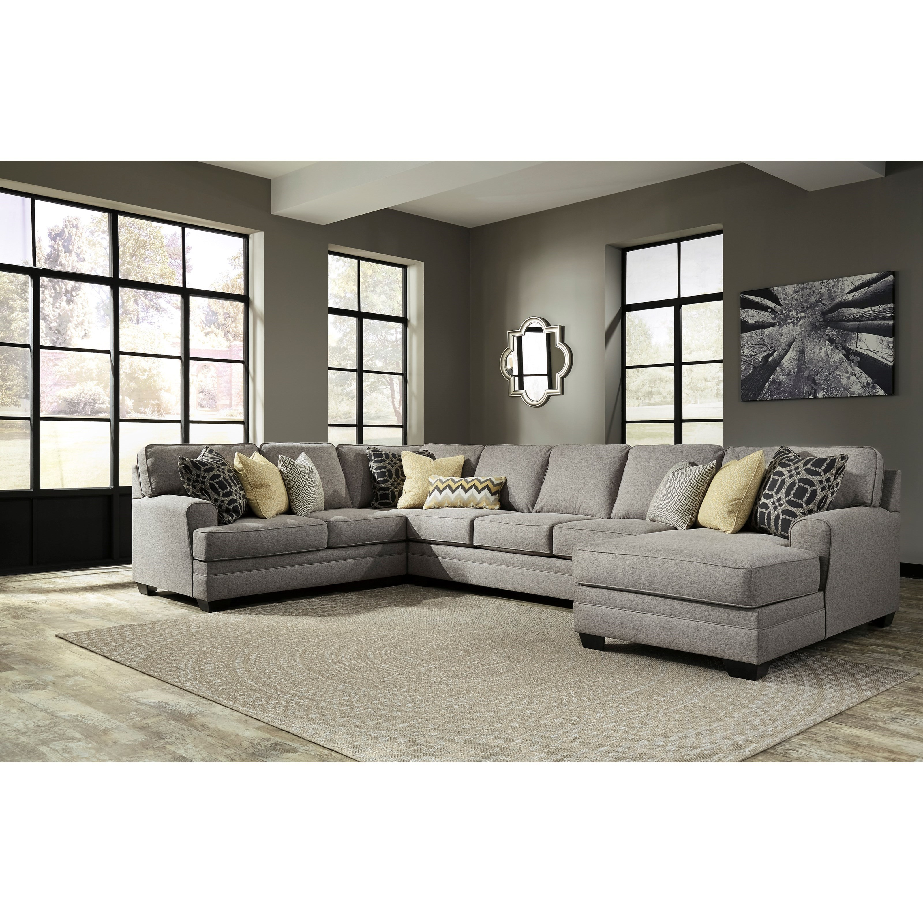 Benchcraft Cresson4-Piece Sectional with Chaise & Armless Sofa