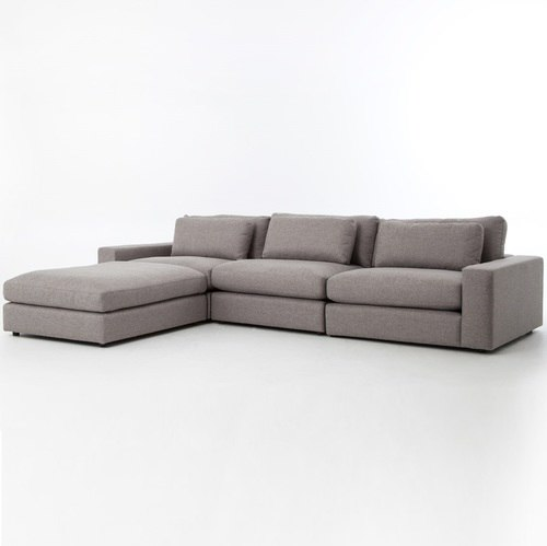 Bloor Gray Upholstered Contemporary 4 Piece Sectional Sofa