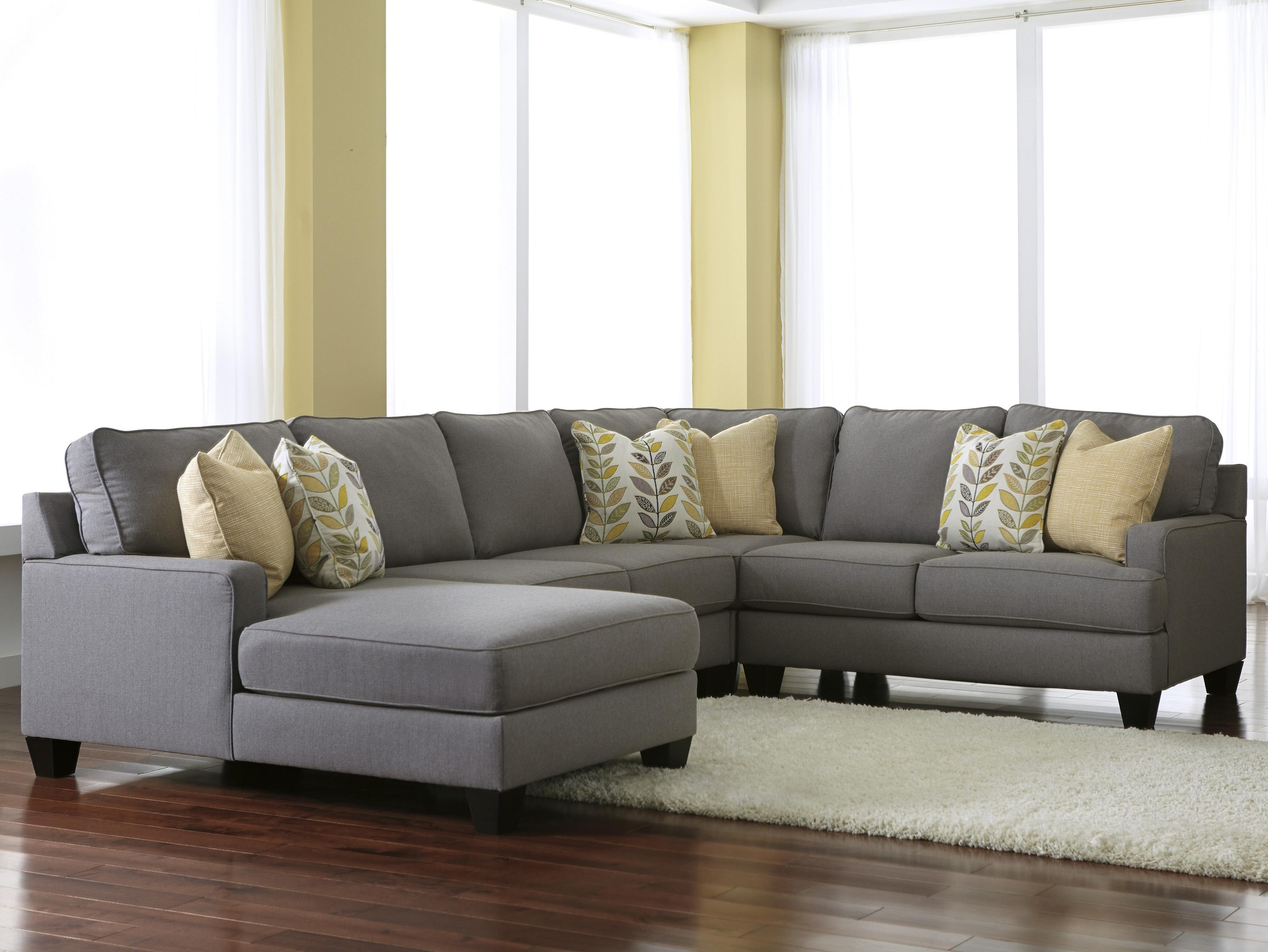 Modern 4-Piece Sectional Sofa with Left Chaise & Reversible Seat Cushions