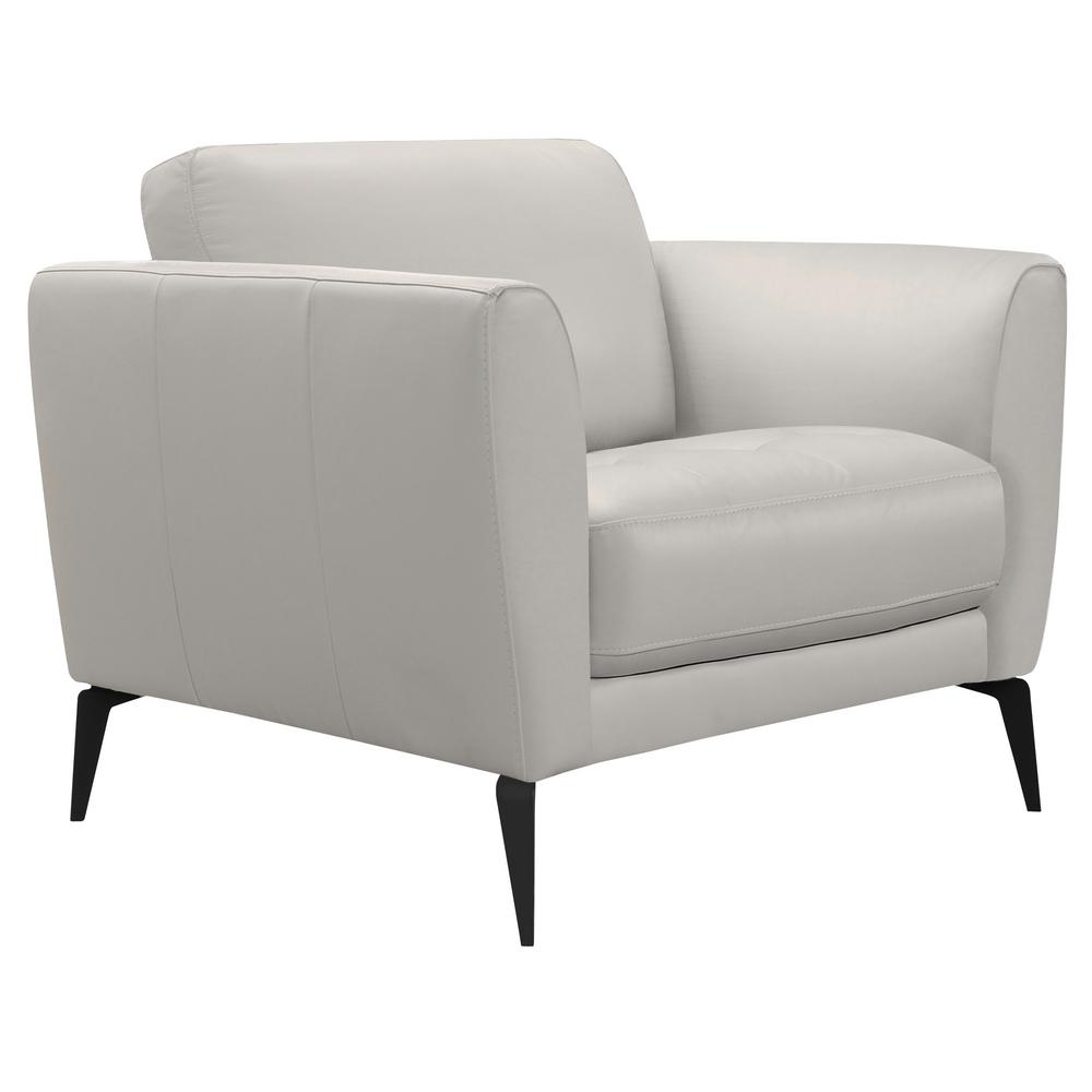 Armen Living Armen Living Hope Genuine Dove Grey Leather Contemporary Chair  with Black Metal Legs