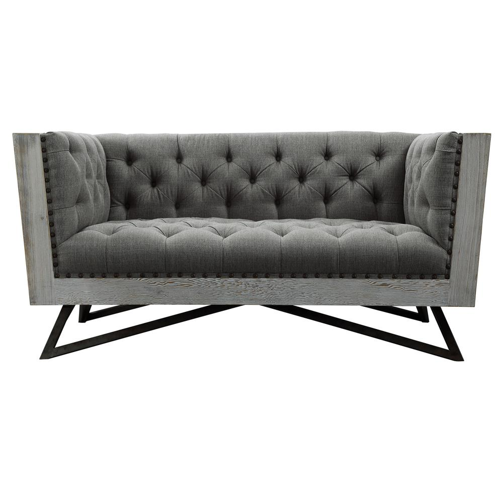Armen Living Regis Grey Fabric with Black Metal Legs and Antique Brown  Nailhead Accents Contemporary Loveseat-LCRE2GR - The Home Depot