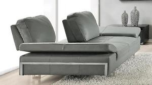 Contemporary Grey Leather Loveseat