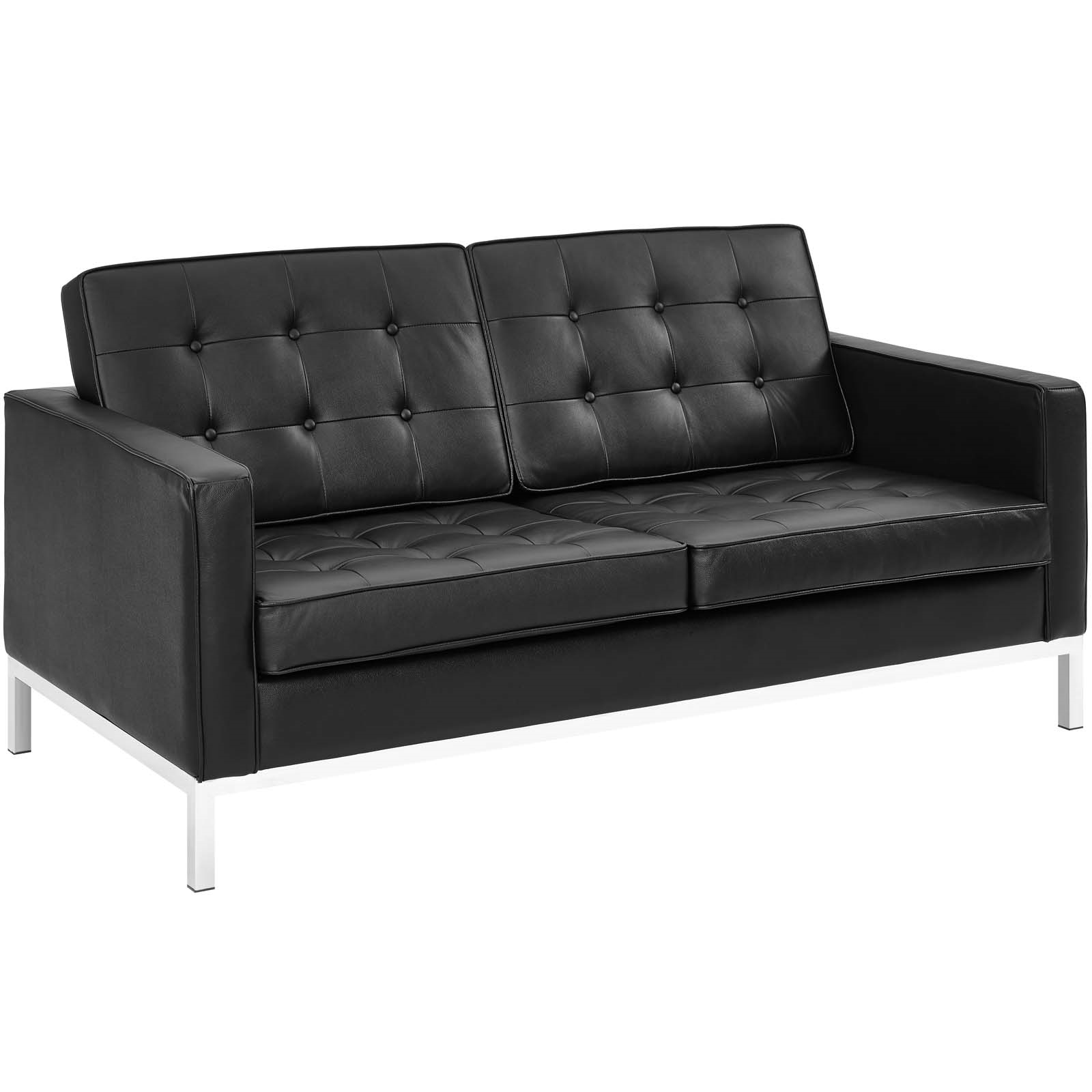 Loft Leather Loveseat in Black